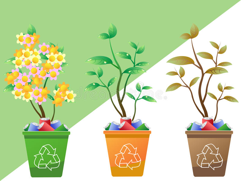 Árvores que crescem no escaninho de recicl ilustração stock