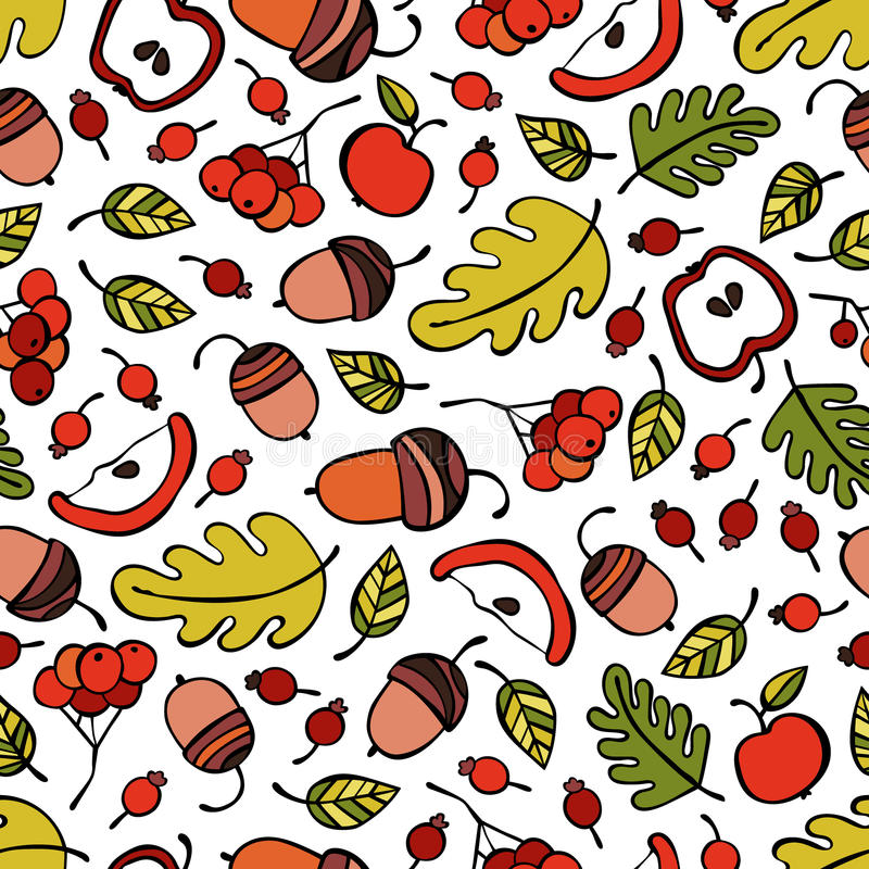 Árvores, ramos, folhas Bagas e maçãs bolotas Fundo sem emenda do teste padrão do vetor imagens de stock
