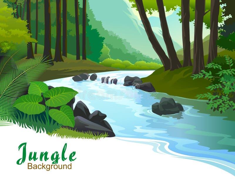 Árvores tropicais da selva e córrego da água fresca ilustração royalty free