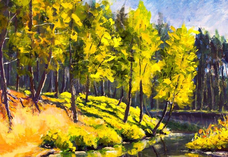 Árvores verdes ensolaradas da pintura a óleo handpainted original na lona de arte do mar - pintura colorida do pinheiro do verão ilustração royalty free