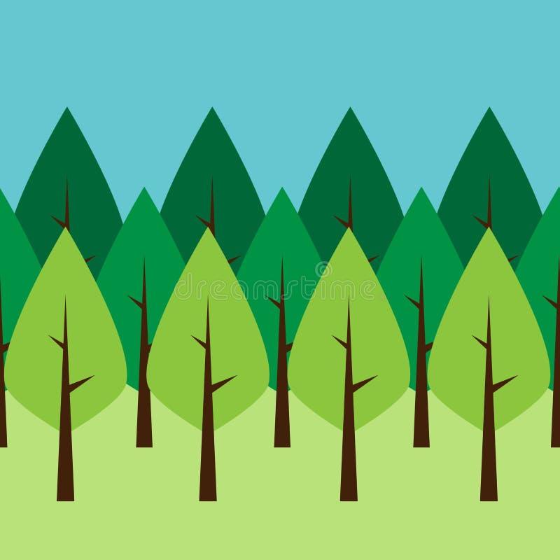 Árvores verdes sem emenda ilustração do vetor
