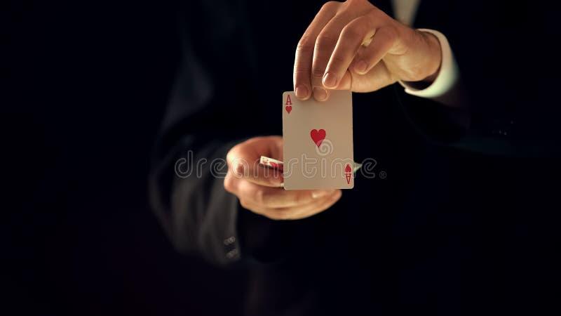 Ás da exibição do ilusionista de corações nas mãos na câmera, mostra do truque mágico, mágico fotografia de stock royalty free