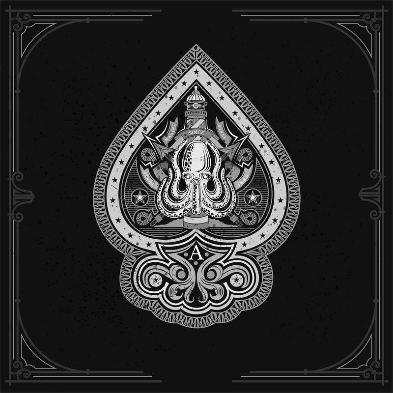 Ás de espada do polvo com arpões e behinde transversais do farol Etiqueta do vintage do mar no preto ilustração royalty free
