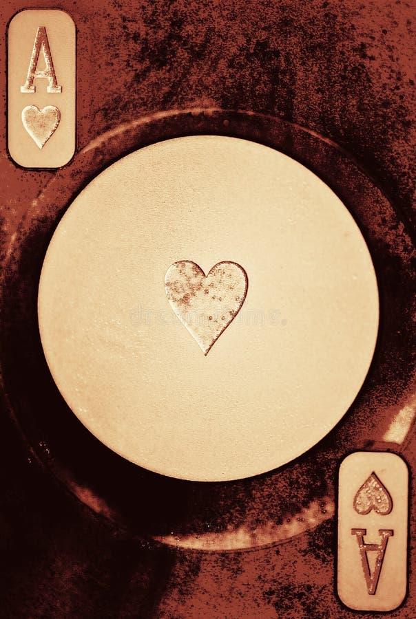 Ás do cartão de jogo dos corações foto de stock royalty free