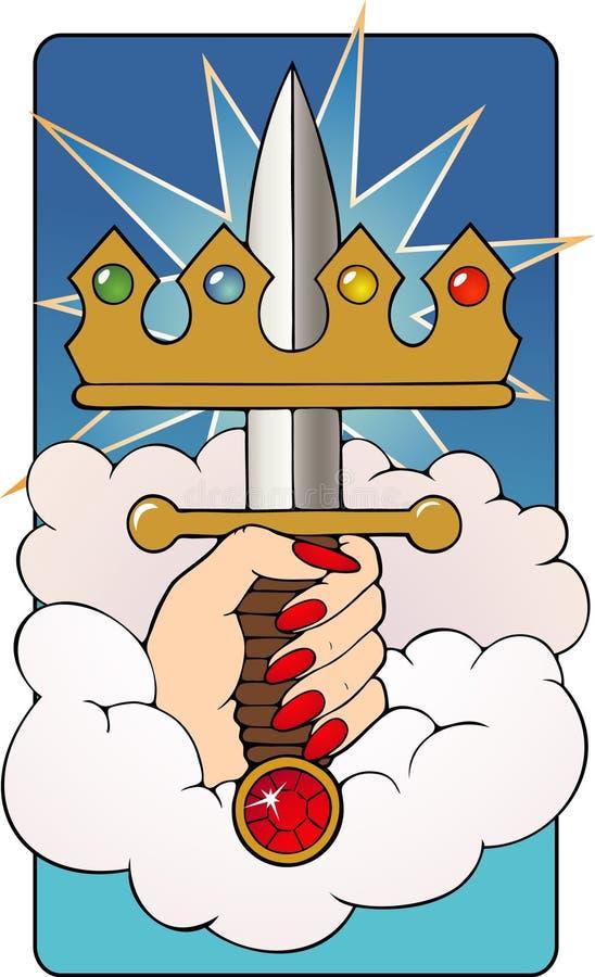 Ás do cartão de Tarot das espadas ilustração stock