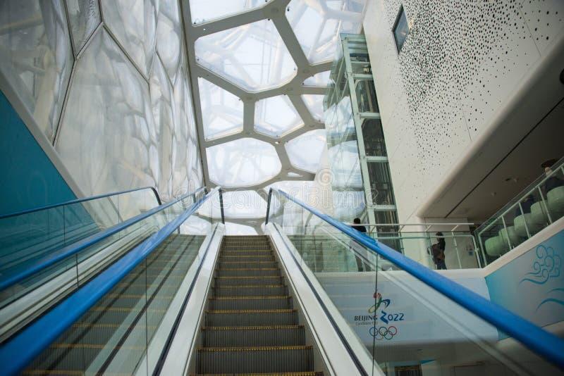Ásia China, Pequim, centro de natação nacional, ¼ interno ŒEscalator do ï fotografia de stock royalty free