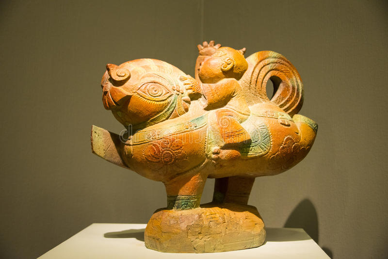 Ásia China, Pequim, China Art Museum, animal malhado de Œhuge do ¼ de Sculptureï foto de stock royalty free