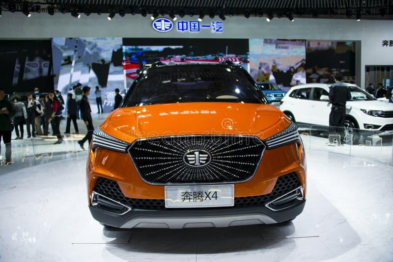 Ásia China, Pequim, exposição internacional do automóvel 2016, salão de exposição interno, SUV pequeno, Pentium X4 imagens de stock