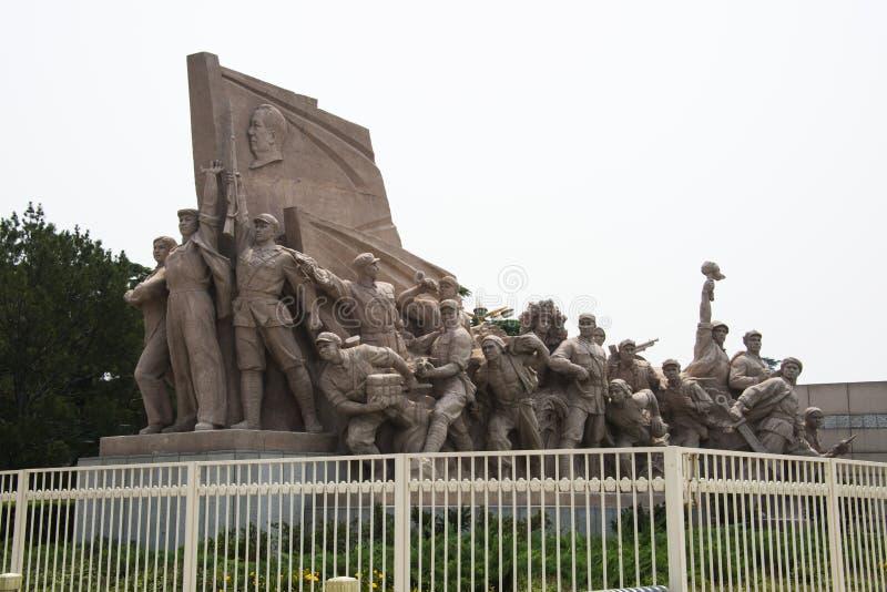 Ásia, China, Pequim, presidente Mao Memorial Hall, escultura fotos de stock royalty free