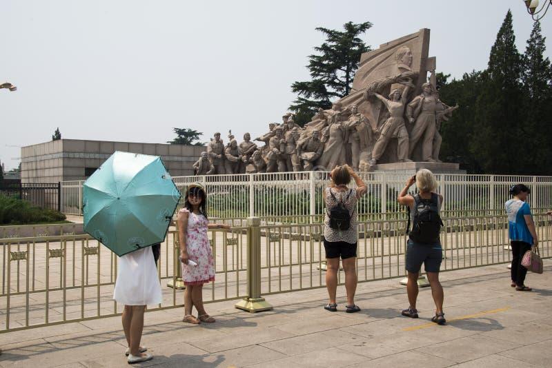 Ásia, China, Pequim, presidente Mao Memorial Hall, escultura fotografia de stock