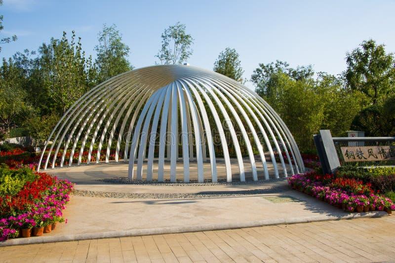 Ásia China, Wuqing Tianjin, expo verde, arquitetura paisagística, semi círculo, pavilhão imagem de stock