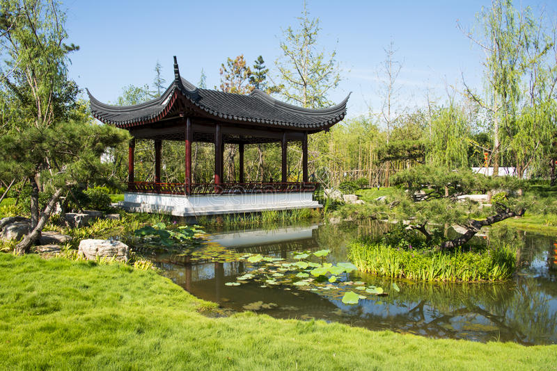 Ásia China, Wuqing, Tianjin, expo verde, pavilhão, galeria fotos de stock