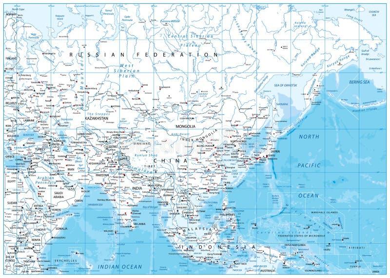 Ásia detalhou o mapa ilustração stock