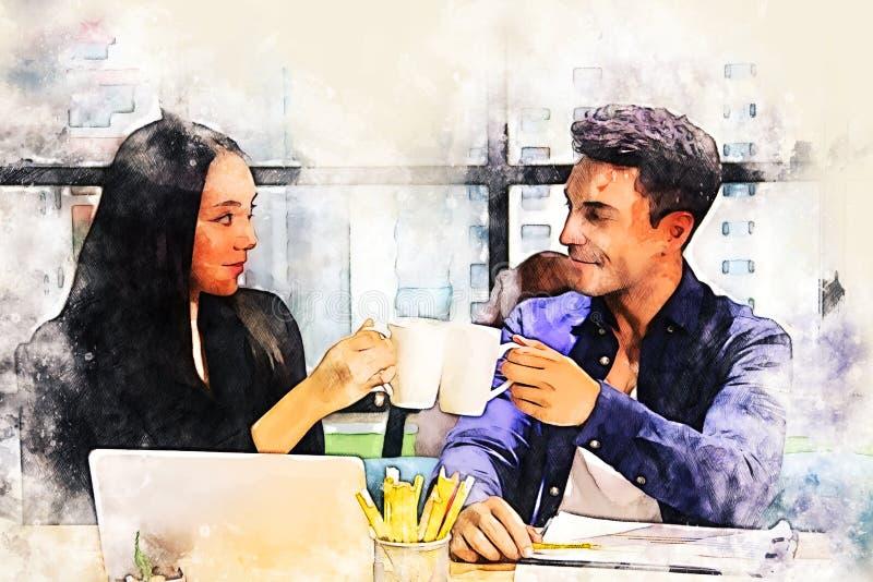 Ásia, dois parceiros comerciais conversando e Discuta sobre a mesa sobre a pintura de ilustração de aquarela fotos de stock