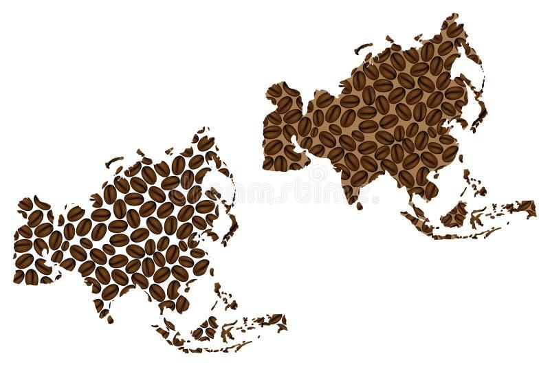 Ásia - mapa do feijão de café ilustração royalty free