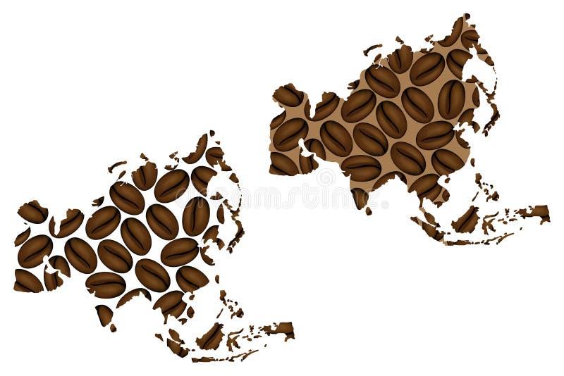 Ásia - mapa do feijão de café ilustração do vetor