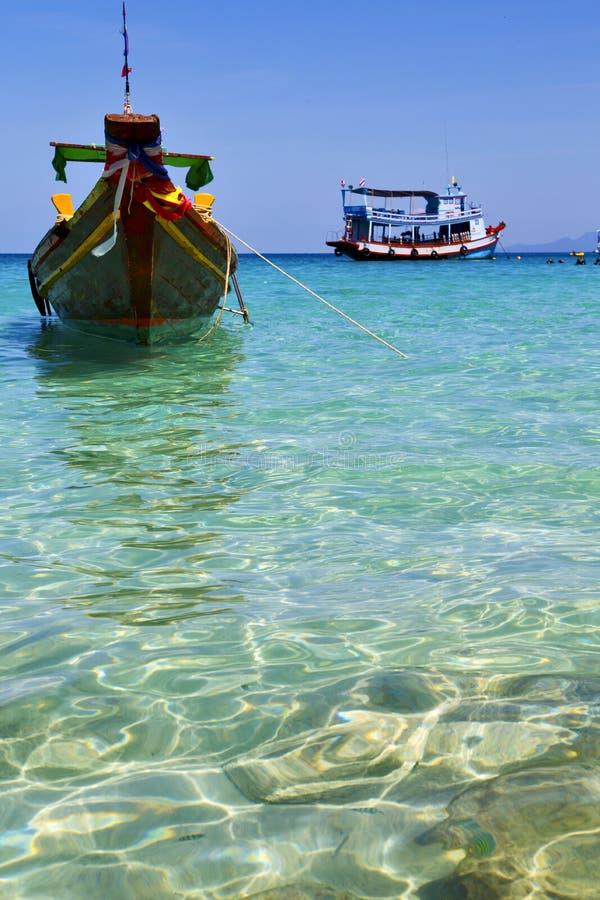 Ásia na praia branca Tailândia da baía de tao do kho e sul foto de stock royalty free
