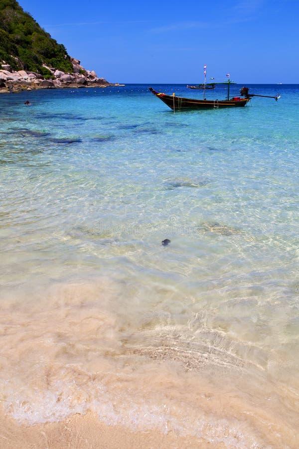 Ásia na praia branca Tailândia da ilha de tao do kho e no sou fotografia de stock