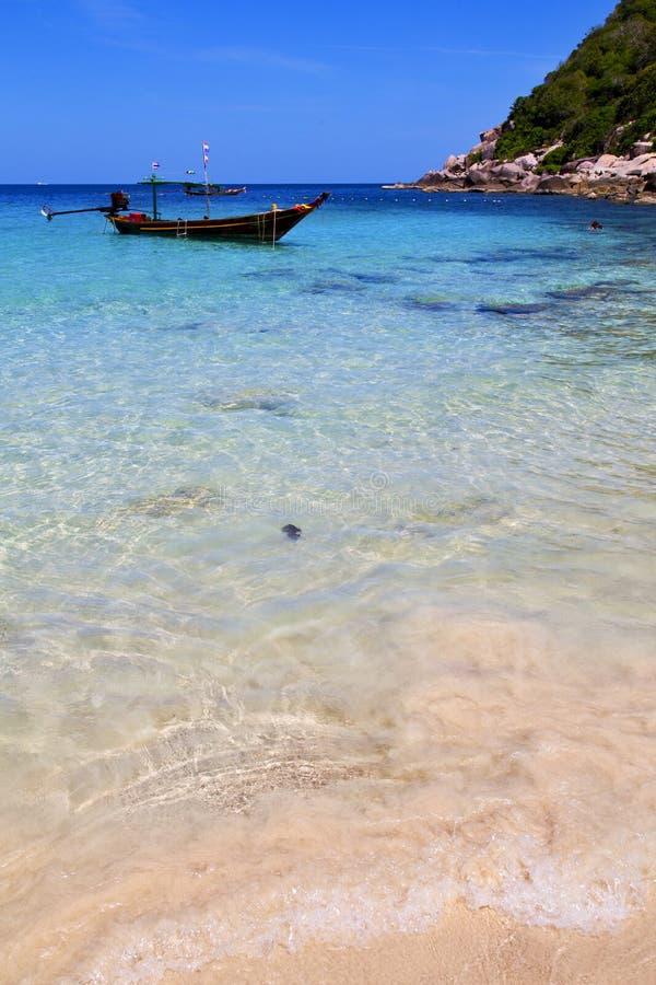 Ásia a praia branca Tailândia da ilha de tao do kho e sul fotografia de stock royalty free