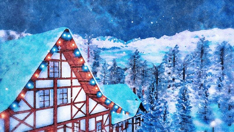 Ático alpino de la casa en la noche del invierno en acuarela imagen de archivo libre de regalías