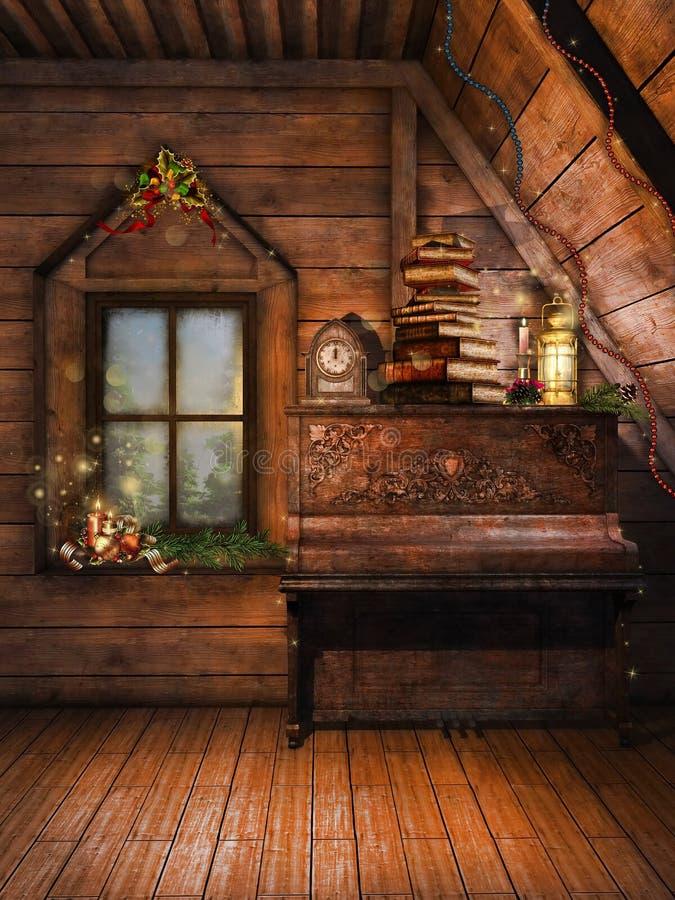 Ático con un piano y las velas ilustración del vector