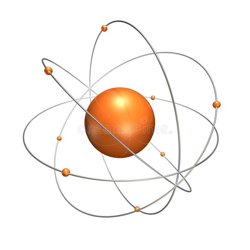 Átomo anaranjado con los anillos del cromo stock de ilustración