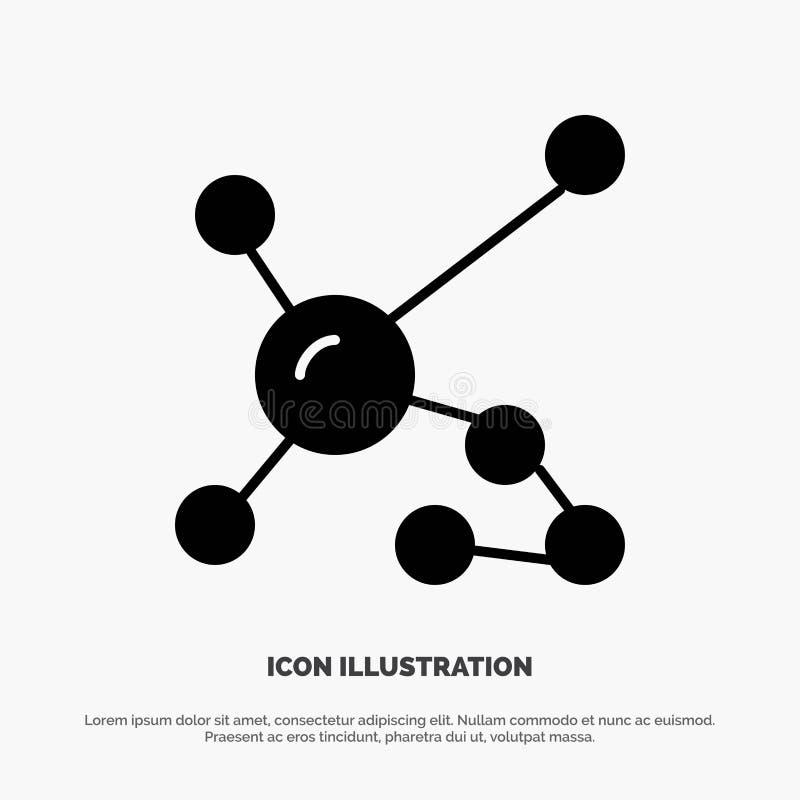Átomo, bioquímica, biología, DNA, vector sólido genético del icono del Glyph ilustración del vector