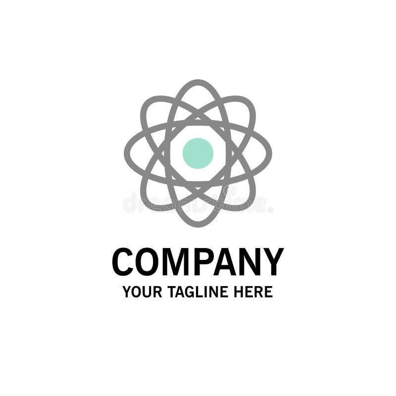 Átomo, bioquímica, química, negocio Logo Template del laboratorio color plano libre illustration