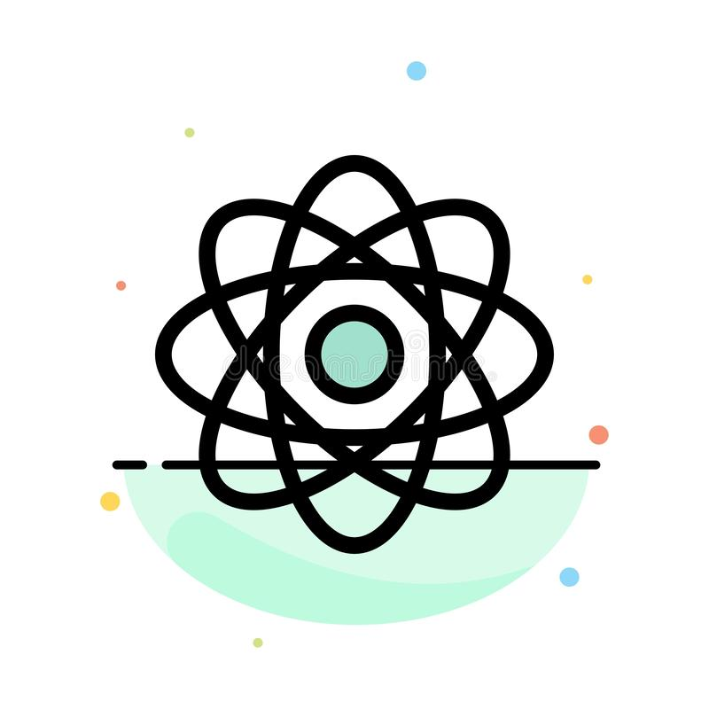 Átomo, bioquímica, química, plantilla plana del icono del color del extracto del laboratorio ilustración del vector