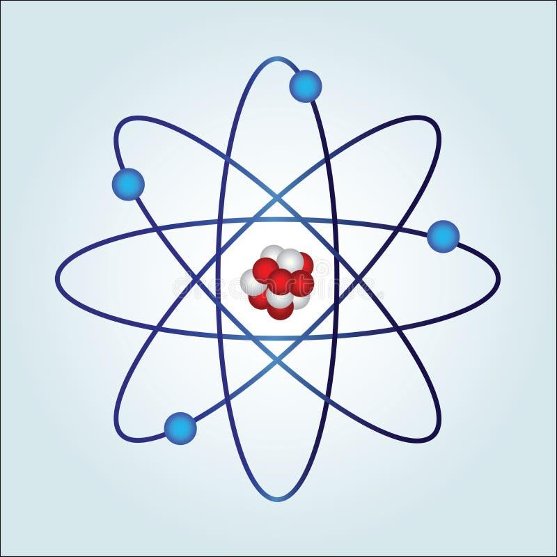 Átomo com necleus e protão ilustração do vetor