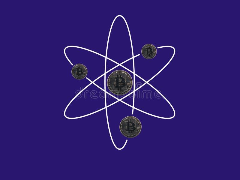 Átomo de Bitcoin ilustración del vector