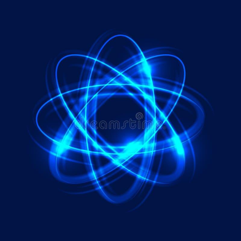 Átomo de incandescência no fundo azul, fundo claro abstrato Círculos claros do movimento, efeito da fuga do redemoinho Vetor eps1 ilustração royalty free