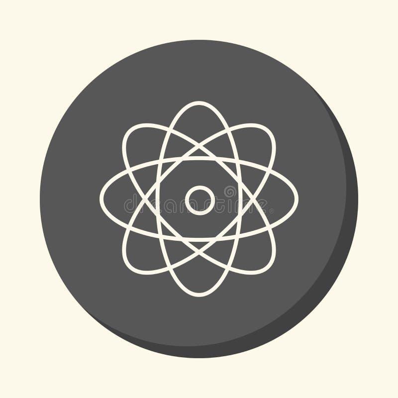 Átomo e elétrons de giro, um ícone linear circular com uma ilusão do volume, um elemento para seu local da escola ou brochura ilustração royalty free