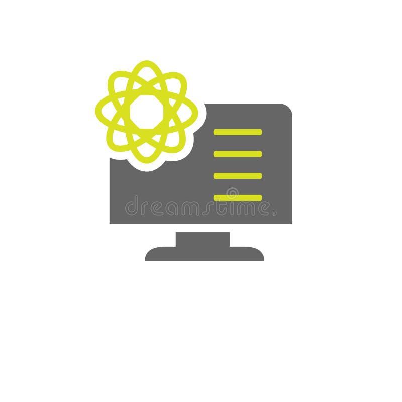 Átomo, icono de la información Elemento del icono del experimento de la ciencia para los apps móviles del concepto y de la web El stock de ilustración