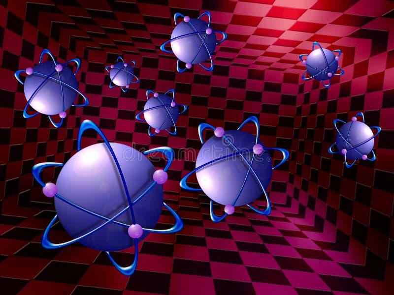 Átomo, molécula. ilustración del vector