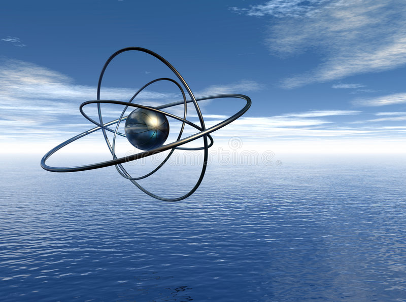 Átomo no gráfico do seascape ilustração do vetor
