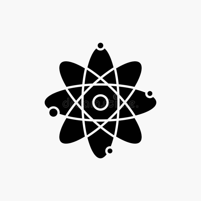 átomo, nuclear, molécula, química, ícone do Glyph da ciência Ilustra??o isolada vetor ilustração stock