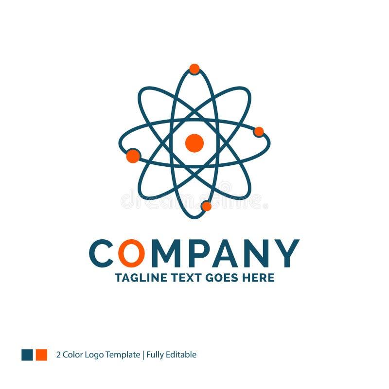 átomo, nuclear, molécula, química, ciência Logo Design Azul ilustração royalty free