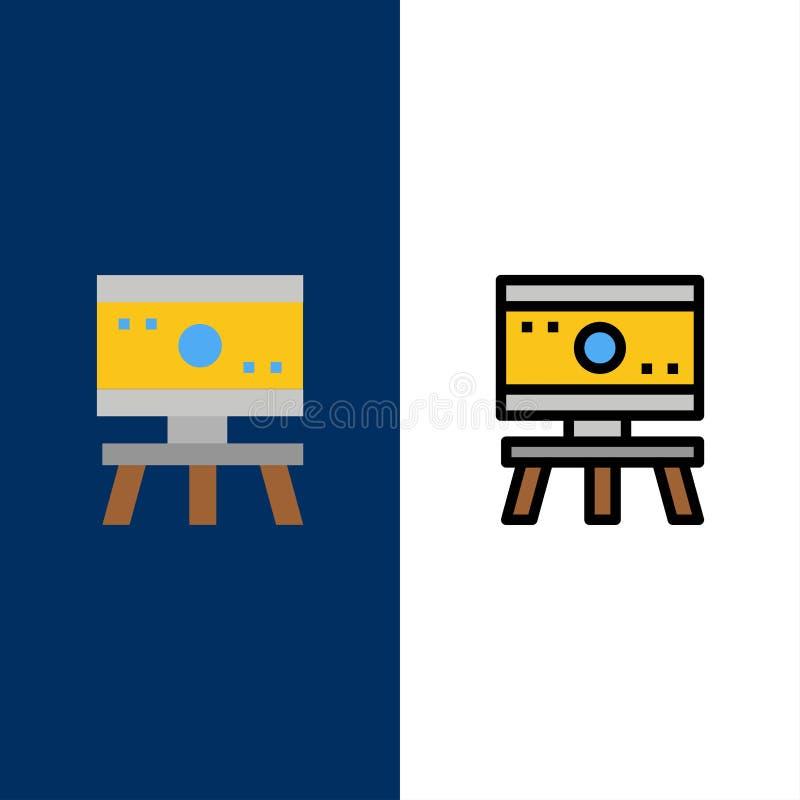 Átomo, placa, ciência, ícones do espaço O plano e a linha ícone enchido ajustaram o fundo azul do vetor ilustração stock