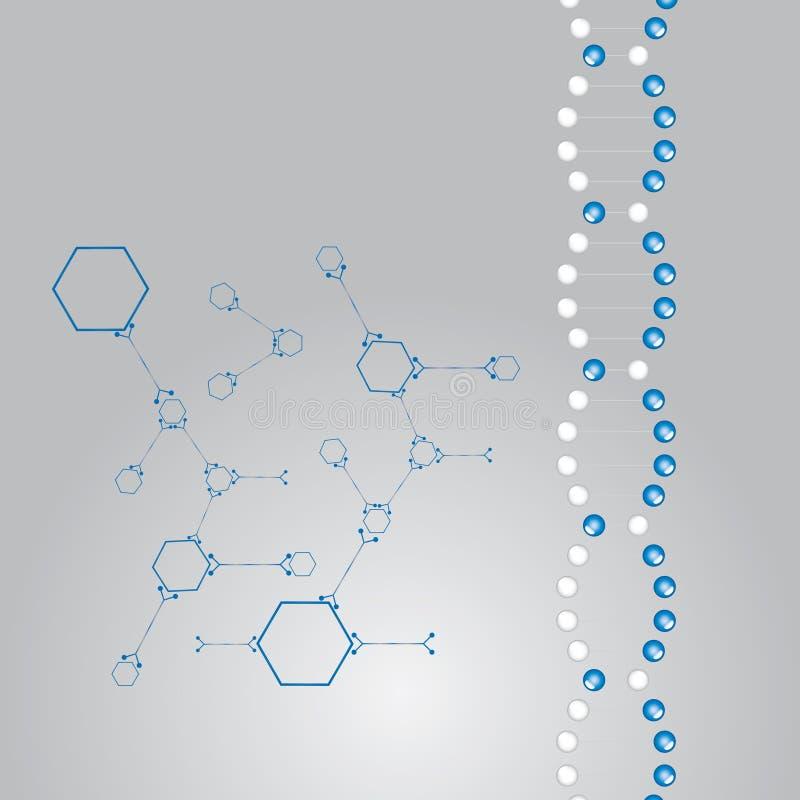 Átomos do whit da ilustração da costa do ADN. ilustração do vetor