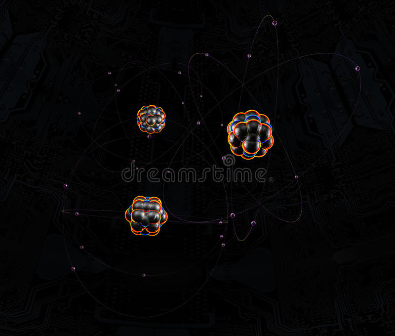 Átomos no espaço imagem de stock royalty free