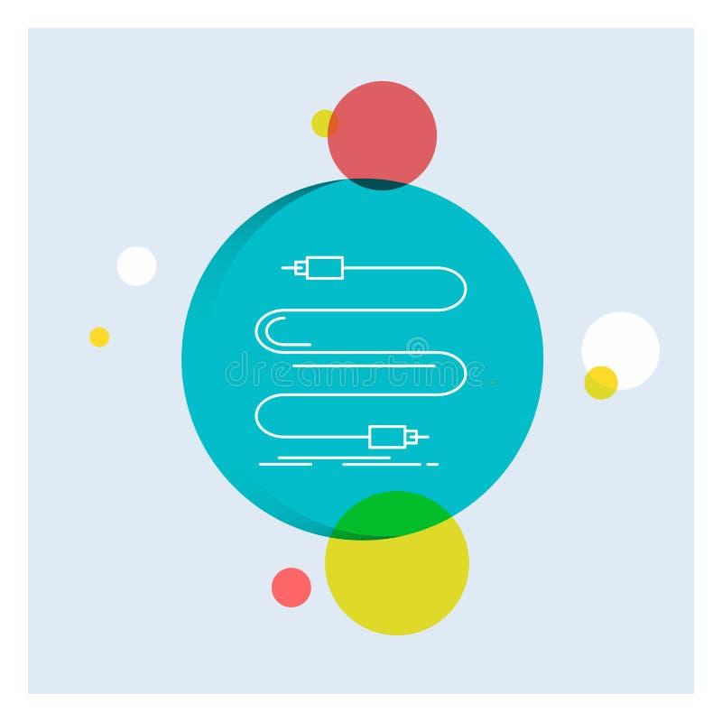áudio, cabo, cabo, som, linha branca fundo colorido do fio do círculo do ícone ilustração royalty free