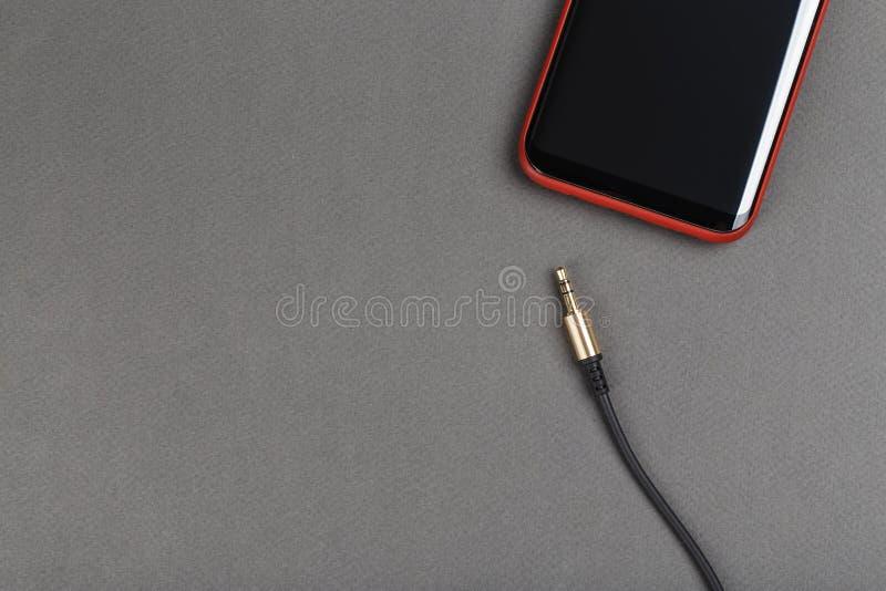Áudio e telefone da tomada de Jack fotografia de stock
