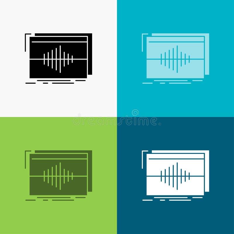 Áudio, frequência, hertz, sequência, ícone da onda sobre o vário fundo projeto do estilo do glyph, projetado para a Web e o app V ilustração do vetor