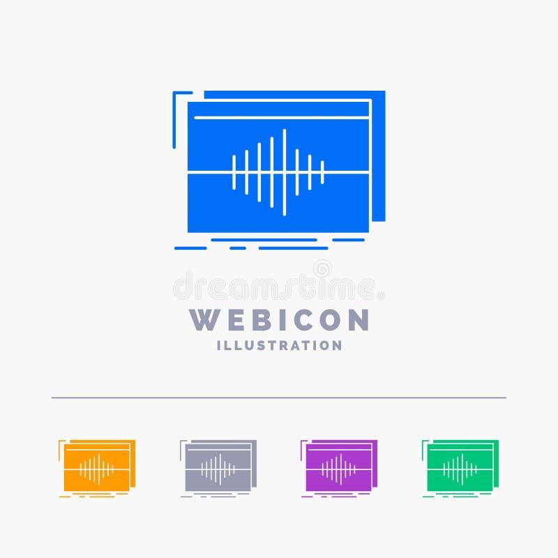 Áudio, frequência, hertz, sequência, molde do ícone da Web do Glyph da cor da onda 5 isolado no branco Ilustra??o do vetor ilustração stock