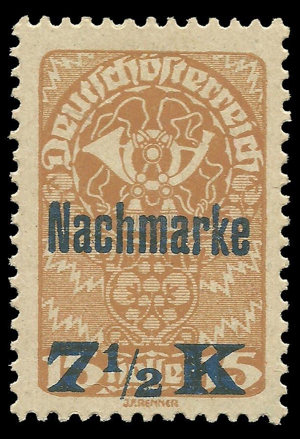 Áustria, porte postal devido, overprint de Nachmarke foto de stock royalty free