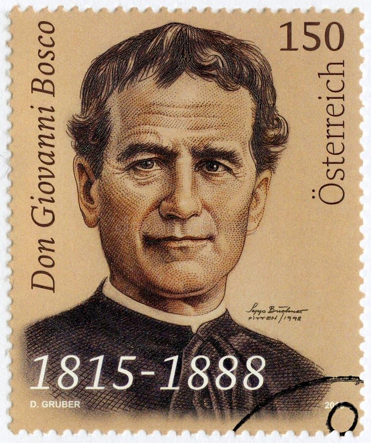 ÁUSTRIA - 2015: Saint John Bosco Don Giovanni 1815-1888 das mostras, padre fotos de stock royalty free