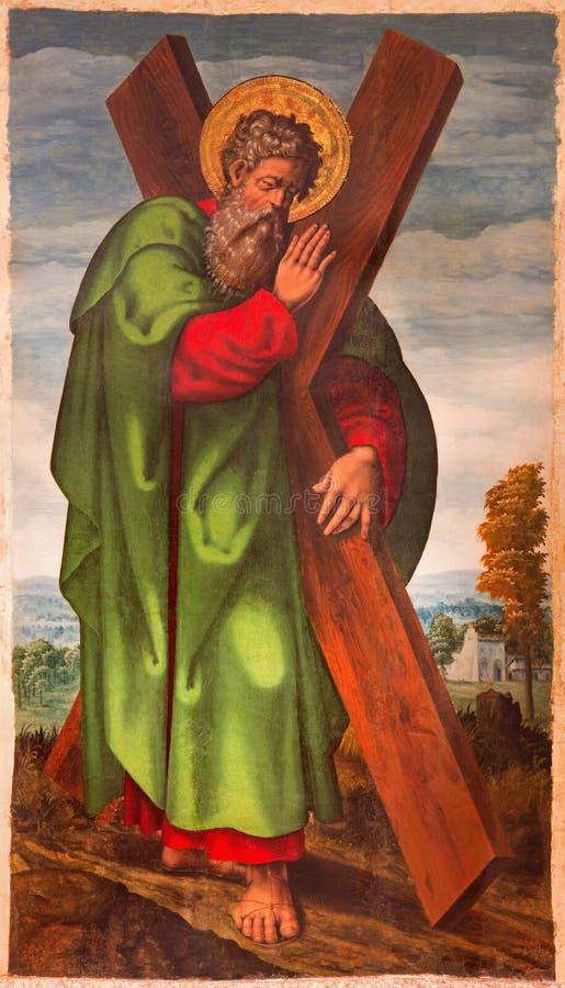 ÁVILA, ESPAÑA: El St Andrew la pintura del apóstol en Catedral de Cristo Salvador del artista desconocido a partir del 15 centavo fotografía de archivo libre de regalías