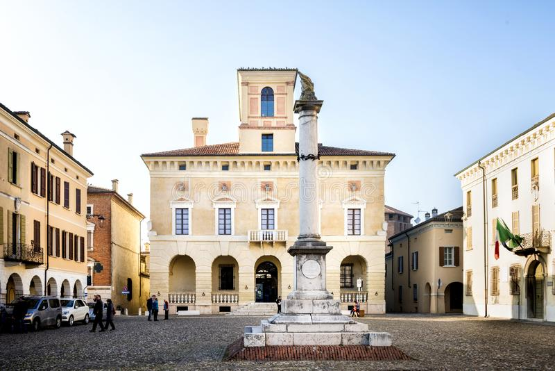 "€ ""ITALIEN †""FEBRUARI 18, 2019 för SABBIONETA-—MANTUA: Hertiglig slott i Sabbioneta, Mantua, Lombardy royaltyfri fotografi"