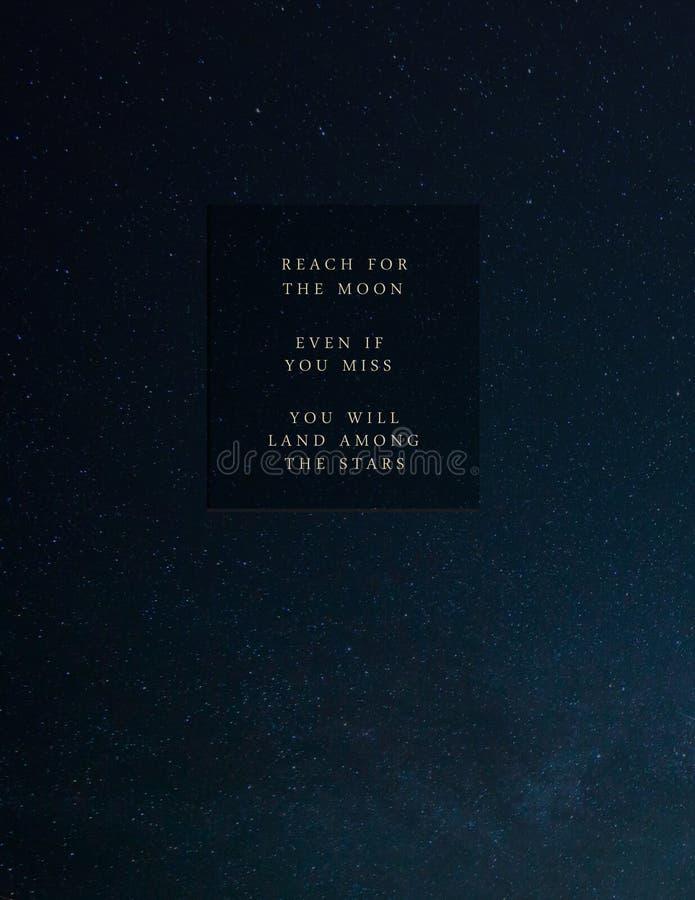 'Bereik voor de Maan 'Citaat vector illustratie